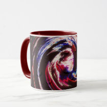 ABSTRACT SWIRLY MILTI COLOR STROKES ON BLACK MUG