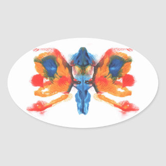 Abstract symmetric painting oval sticker