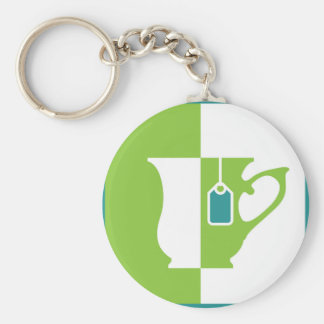 Abstract teacup basic round button keychain