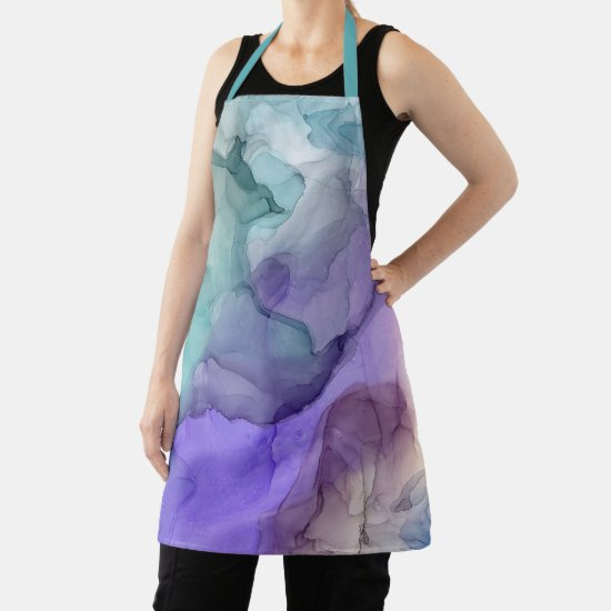 Abstract Teal and Purple Alcohol Ink Pattern Apron
