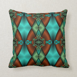 abstract teal and rust pillow