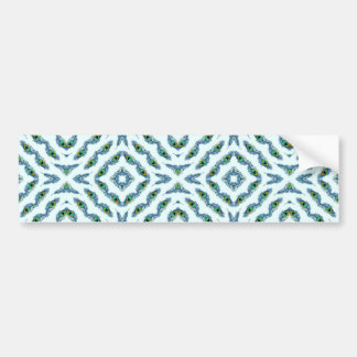 Abstract teal blue black floral peacock feathers. bumper sticker