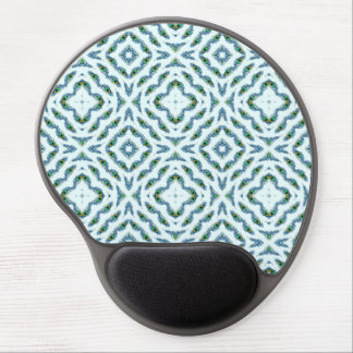 Abstract teal blue black floral peacock feathers. gel mouse pad