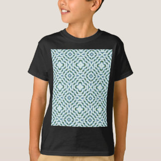 Abstract teal blue black floral peacock feathers. T-Shirt