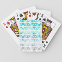 Abstract teal blue ombre geometric triangles playing cards