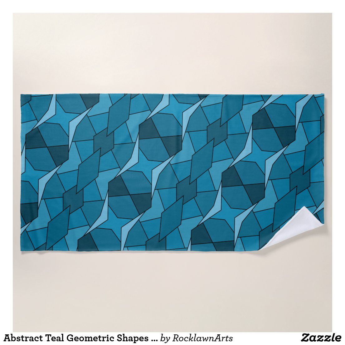 Abstract Teal Geometric Shapes Beach Towel