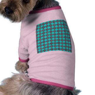 Abstract Teal Gray Quatrefoil Pattern Dog T-shirt
