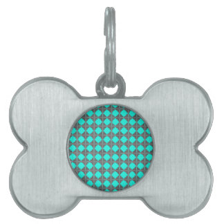 Abstract Teal Gray Quatrefoil Pattern Pet Tags