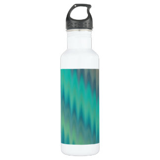 Abstract Teal Green Ikat Chevron Zigzag Water Bottle