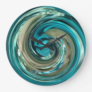 Abstract Teal N Gold Dolphin Swirl Clock