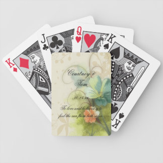 Abstract Teal Peach Floral Wedding Bicycle Playing Cards