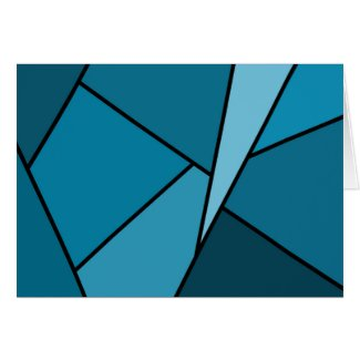 Abstract Teal Polygons Card