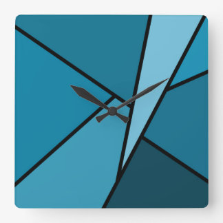 Abstract Teal Polygons Square Wall Clocks