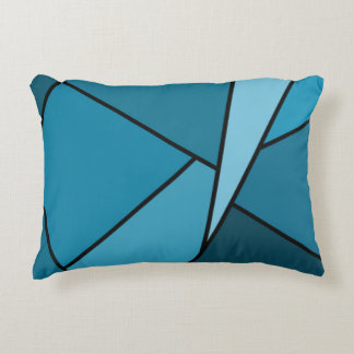 Abstract Teal Polygons Decorative Pillow