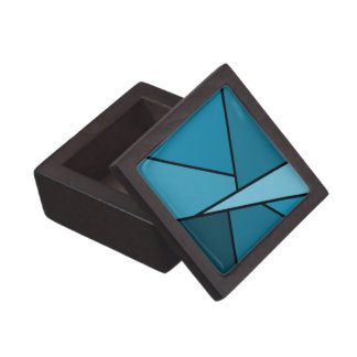 Abstract Teal Polygons Jewelry Box