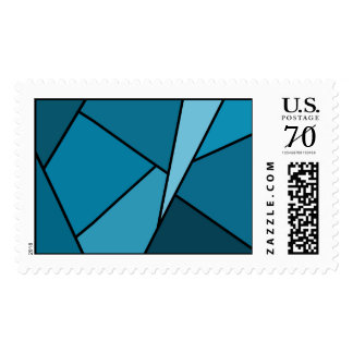 Abstract Teal Polygons – Large Postage Stamp