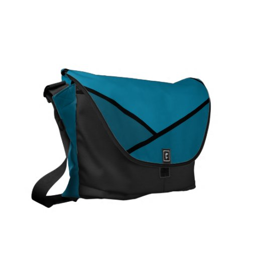 Abstract Teal Polygons Courier Bags