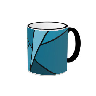 Abstract Teal Polygons Mugs
