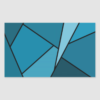 Abstract Teal Polygons Rectangular Sticker