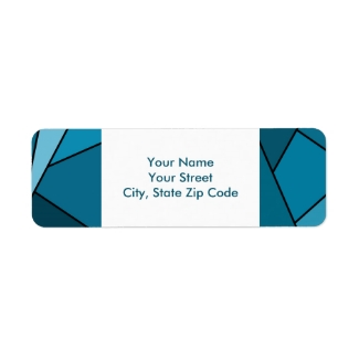 Abstract Teal Polygons return address label