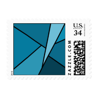 Abstract Teal Polygons – Small Postage