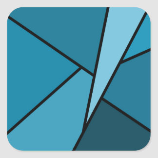 Abstract Teal Polygons Square Sticker