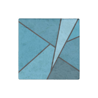 Abstract Teal Polygons Stone Magnet