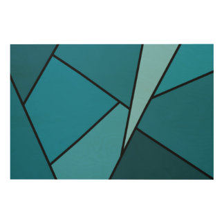 Abstract Teal Polygons Wood Wall Art
