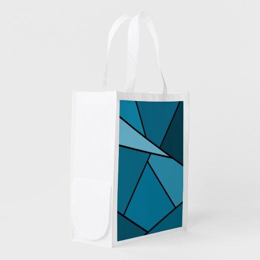 Abstract Teal Polygons Reusable Grocery Bag
