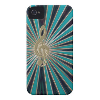 Abstract Teal Sunburst with Music Clef for iPhone iPhone 4 Case