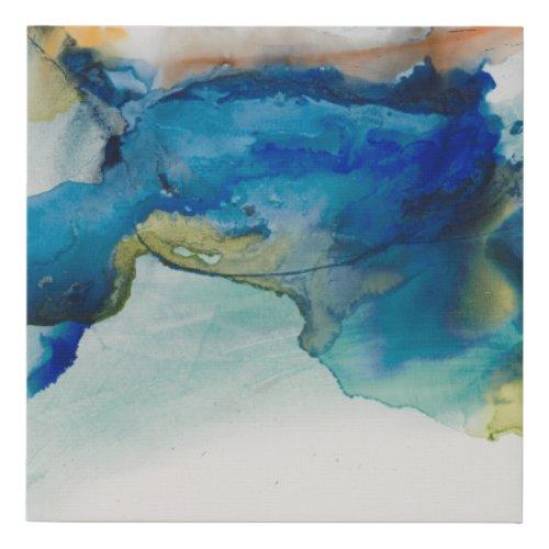 Abstract Terrain - Blue Faux Canvas Print