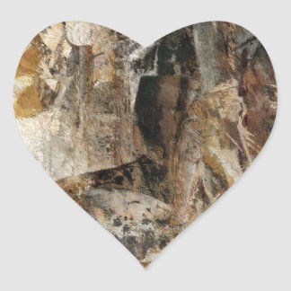 Abstract Texture earthcolored Heart Sticker
