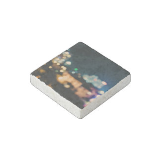 Abstract Themed, Blurry Lights And Blurred Buildin Stone Magnet