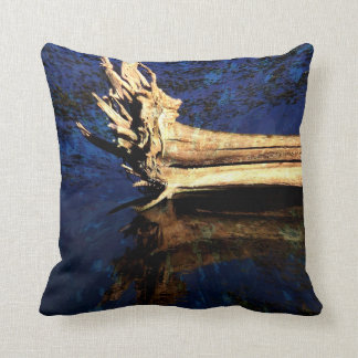 Abstract throw pillow tree trunk in water