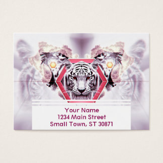 Abstract Tiger in geometric hexagon Business Card