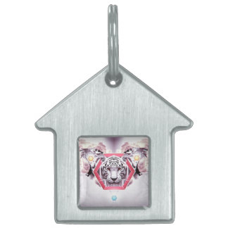 Abstract Tiger in geometric hexagon Pet Name Tag
