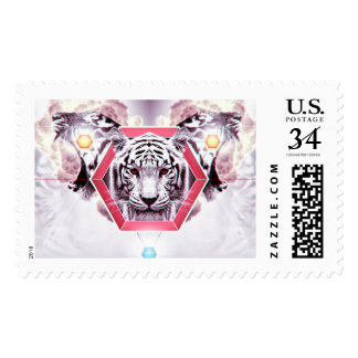 Abstract Tiger in geometric hexagon Postage