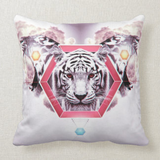 Abstract Tiger in geometric hexagon Throw Pillow