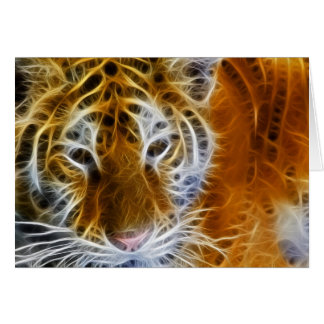 Abstract tiger portrait fractal art card