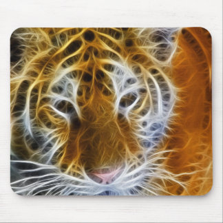 Abstract tiger portrait fractal art mouse pad