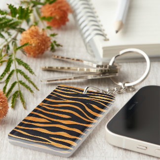 Abstract Tiger Print Keychain