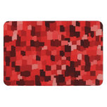 Abstract tiles patterned camouflage red magnet