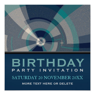 Abstract Trance Tunnel Birthday Party Invitation