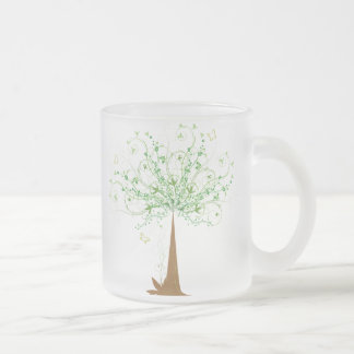 Abstract Tree and Butterflies Frosted Glass Coffee Mug