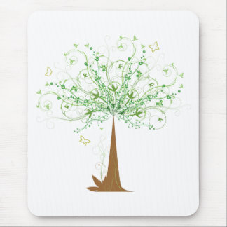 Abstract Tree and Butterflies Mouse Pad