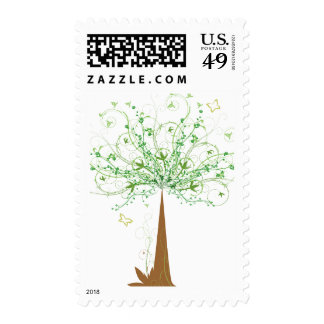 Abstract Tree and Butterflies Postage Stamps