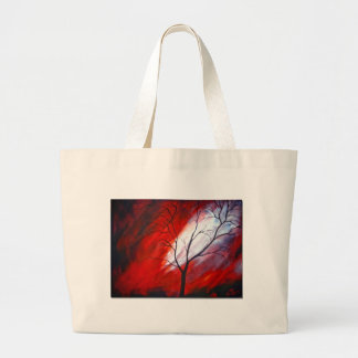 Abstract Tree and Red Sky Large Tote Bag