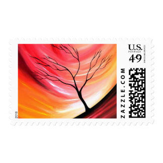Abstract Tree and Red Yellow Sky Postage