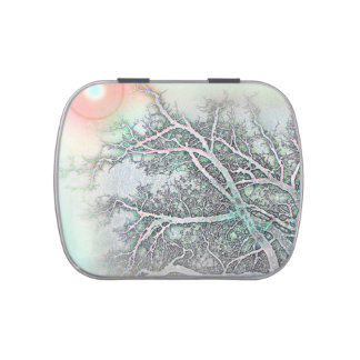 Abstract Tree and Sun Stash Box, Pill Box, Candy Candy Tin
