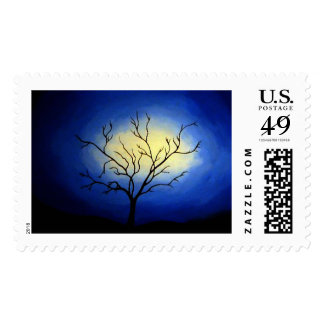 Abstract Tree & Blue Night Stamps